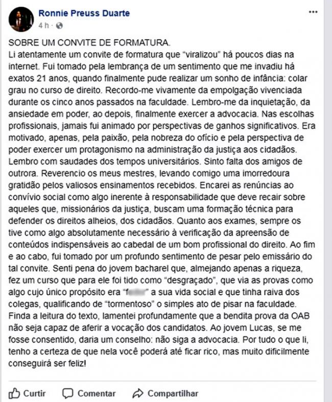 Estudante do Recife bomba na web com convite de formatura sincero