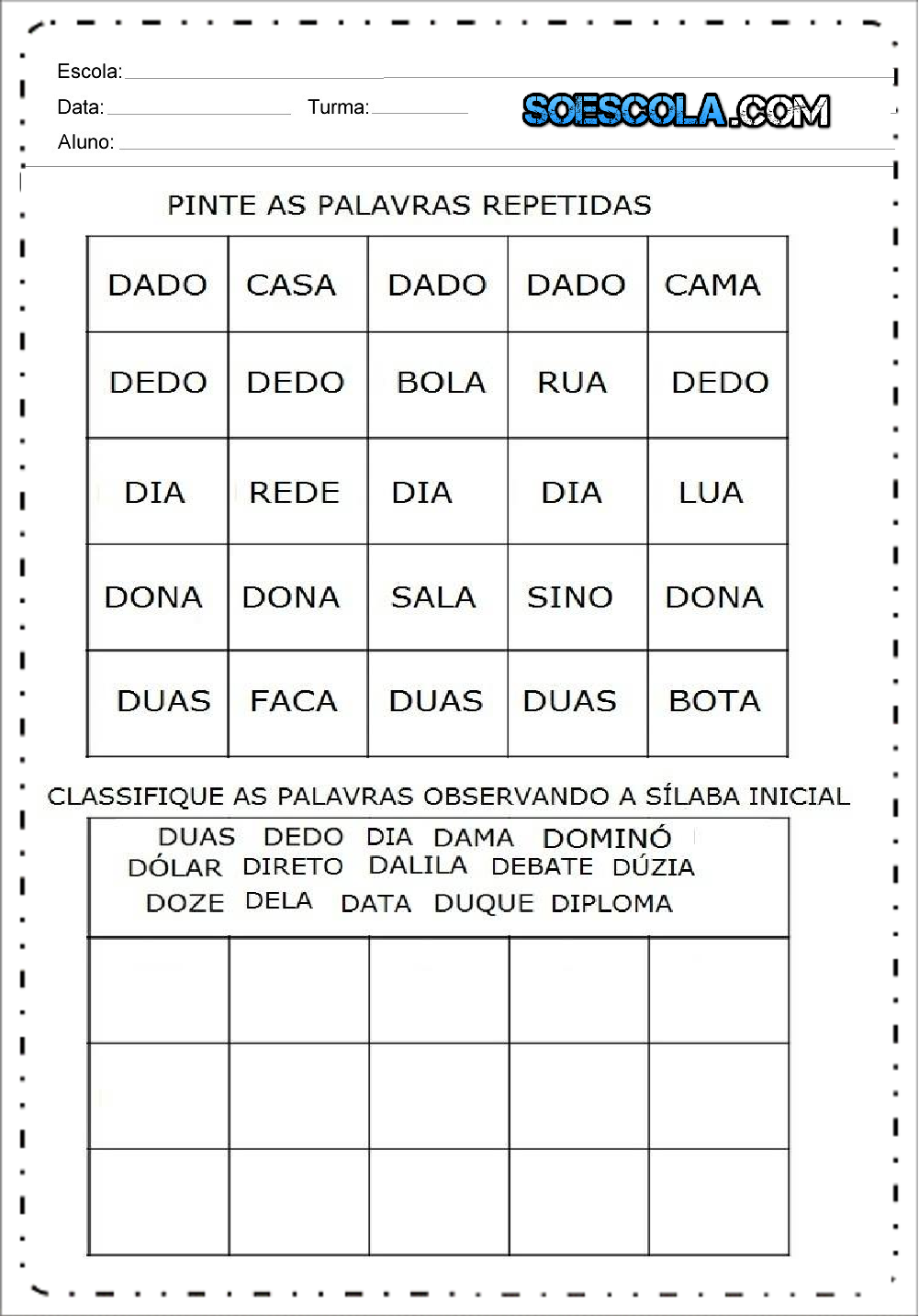 Atividades com a letra D - Alfabetização Inicial - Para imprimir
