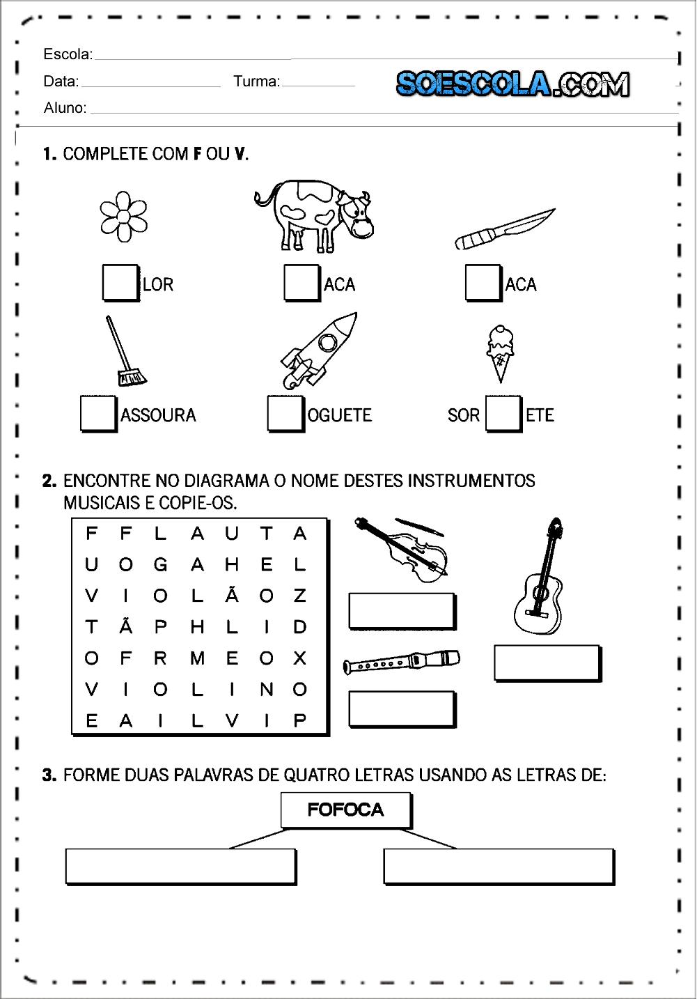 Atividades de Ortografia V ou F para Ensino Fundamental
