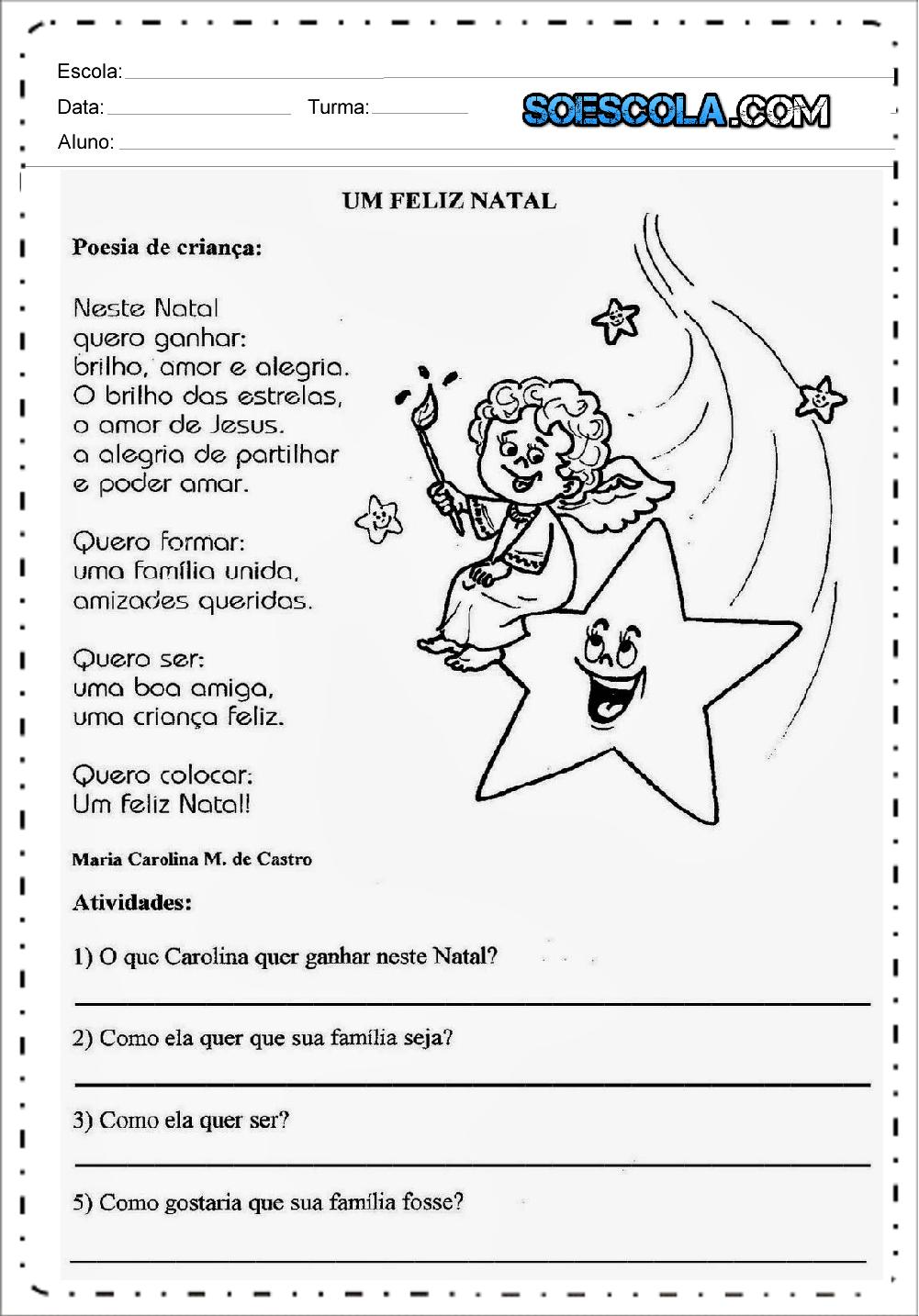Atividades de Interpretação de Texto um Feliz Natal - Para imprimir