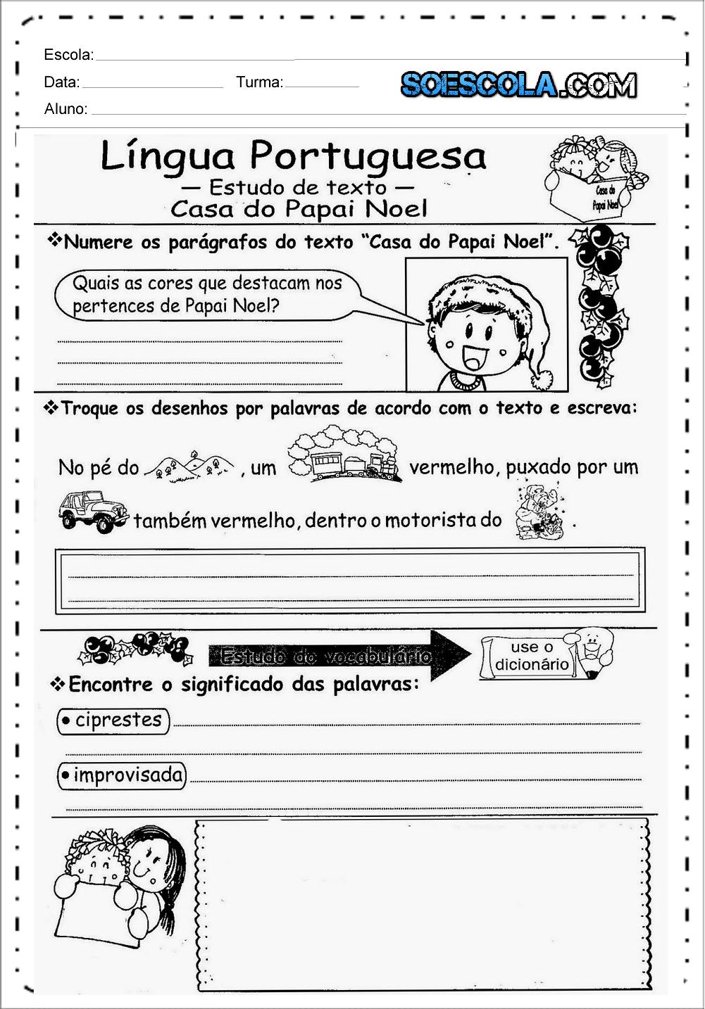 Atividades de Natal para Ensino Fundamental para imprimir