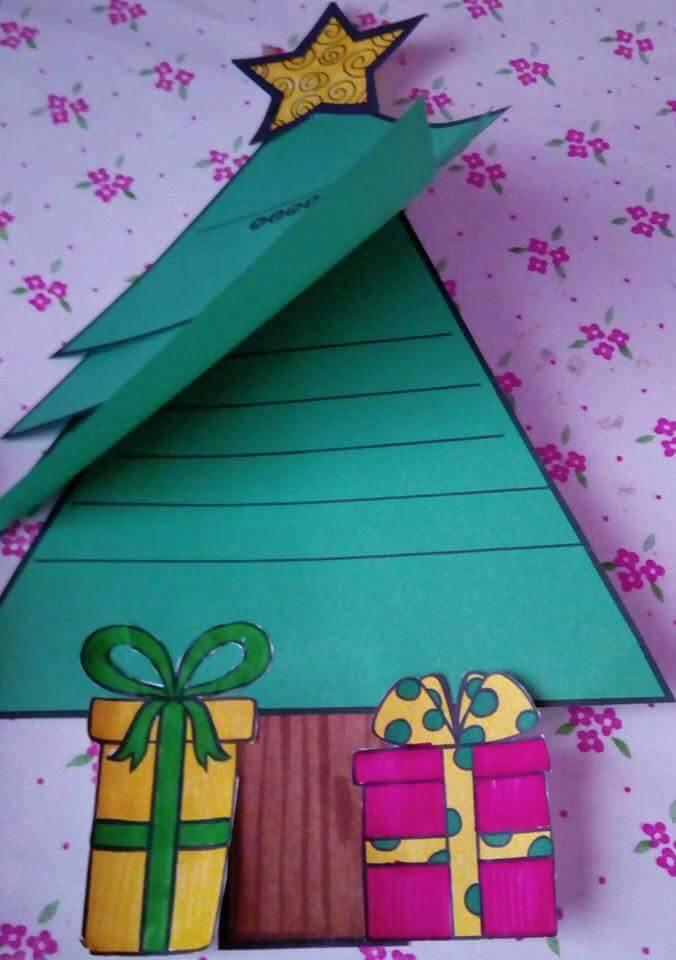 Cartão de Natal com moldes para imprimir e colorir