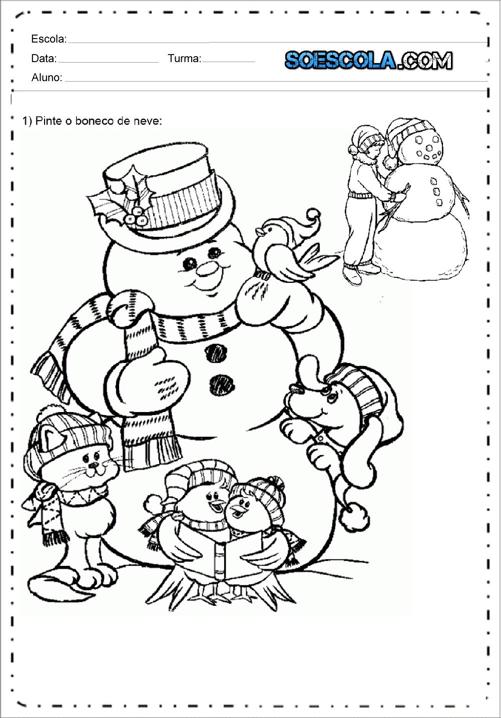 Desenhos de Boneco de Neve de Natal para colorir – Desenhos Natalinos