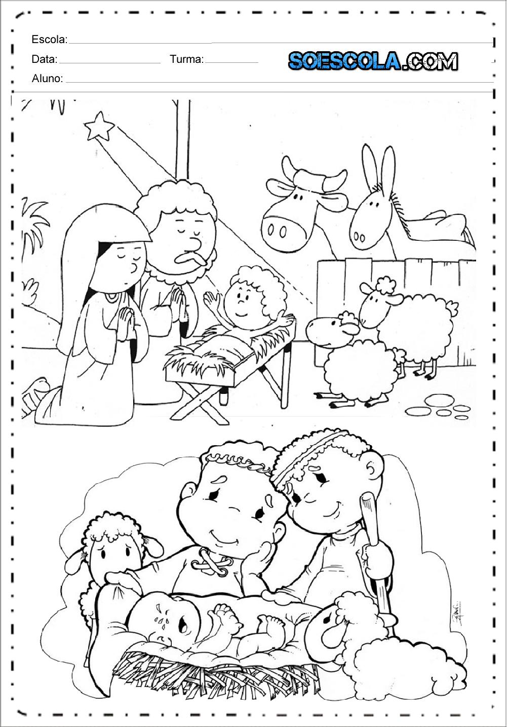 Desenhos de Presépio de Natal para colorir e imprimir em PDF