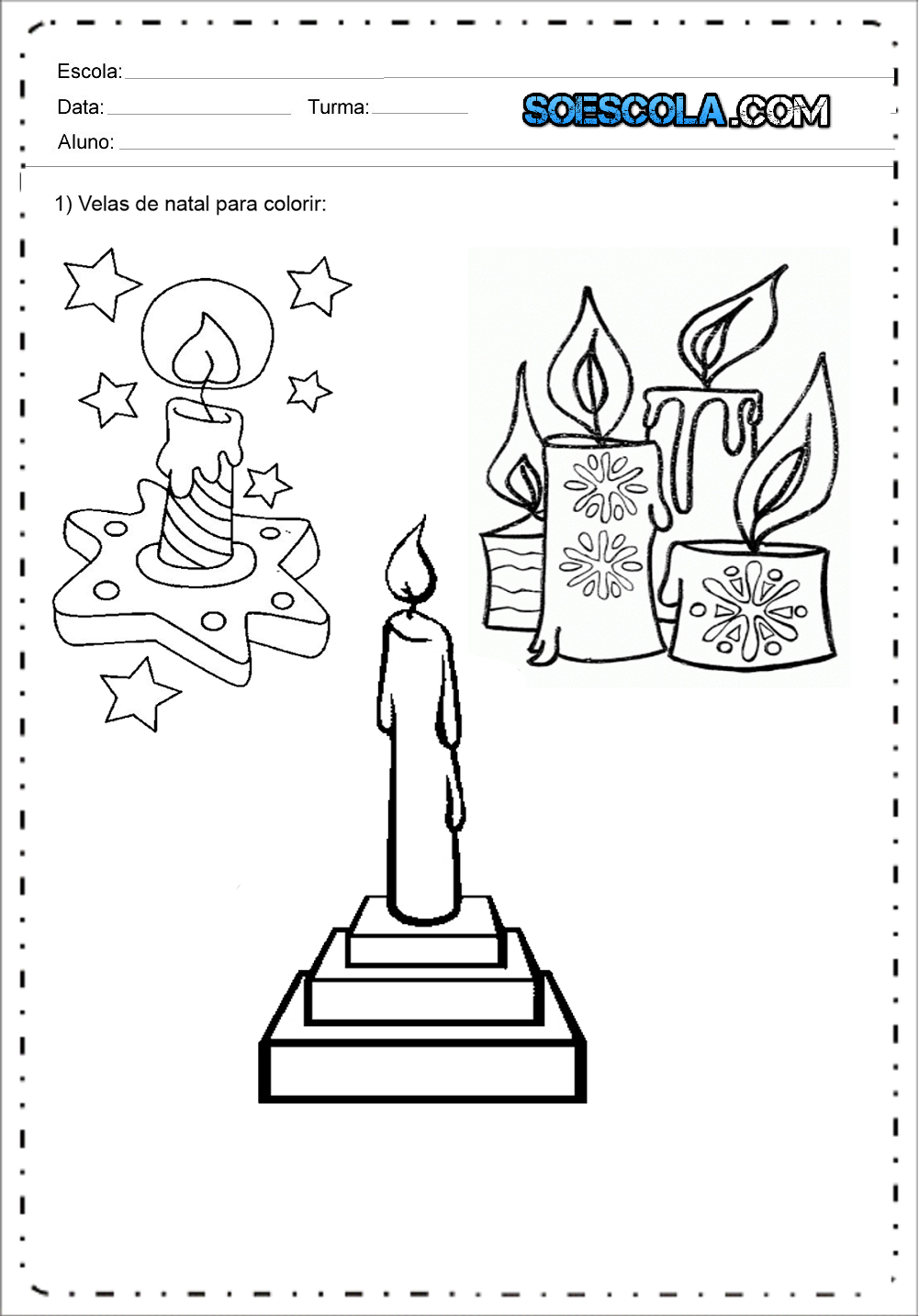 desenhos de velas de natal para colorir e imprimir sÓ escola