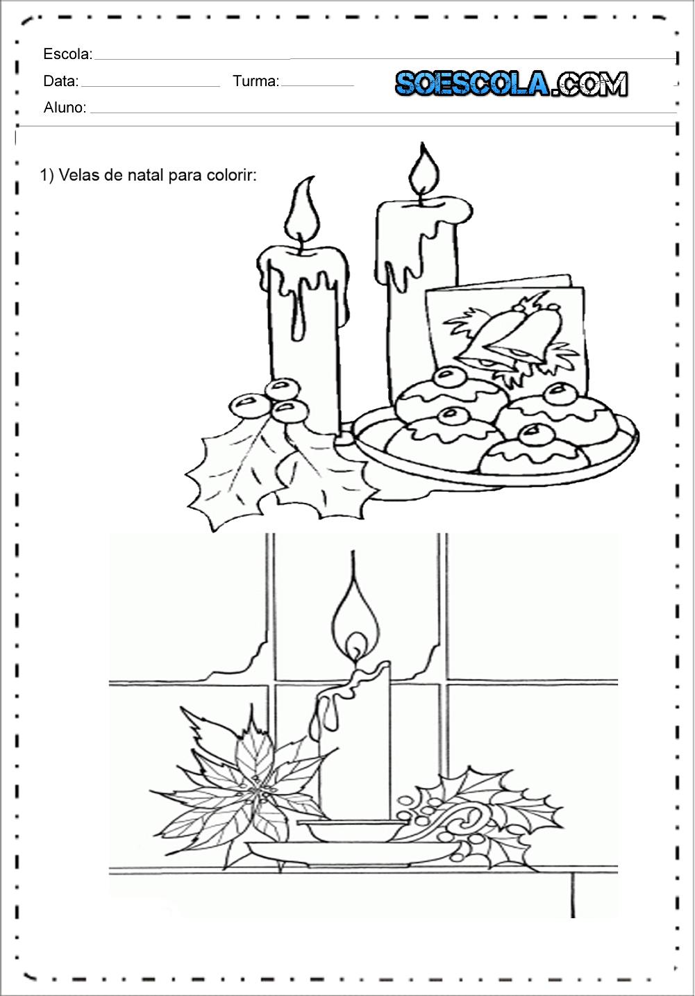 Desenhos de Velas de Natal para colorir e imprimir - Desenhos Natalinos