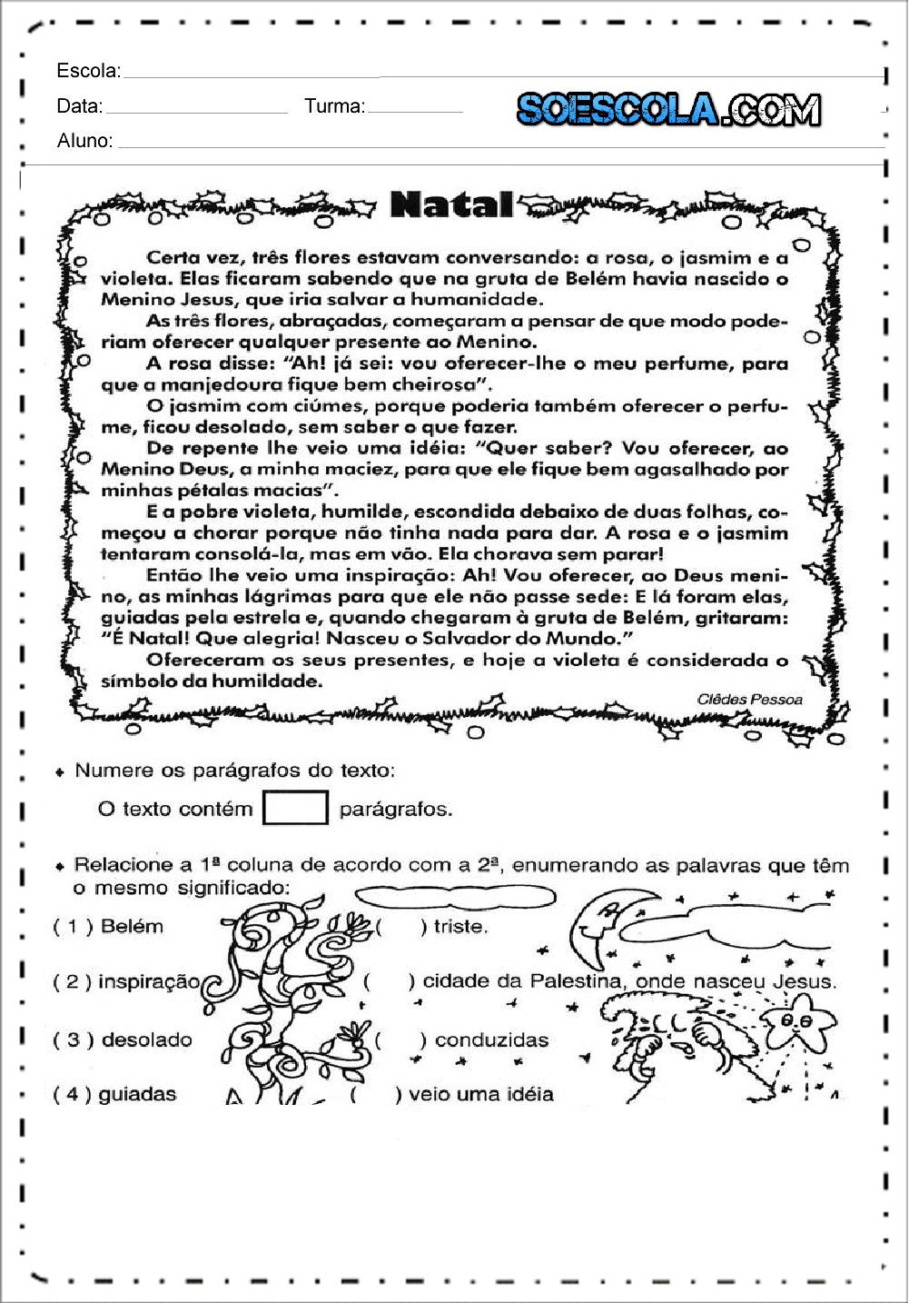 Leitura e Interpretação de Texto de Natal - Para imprimir