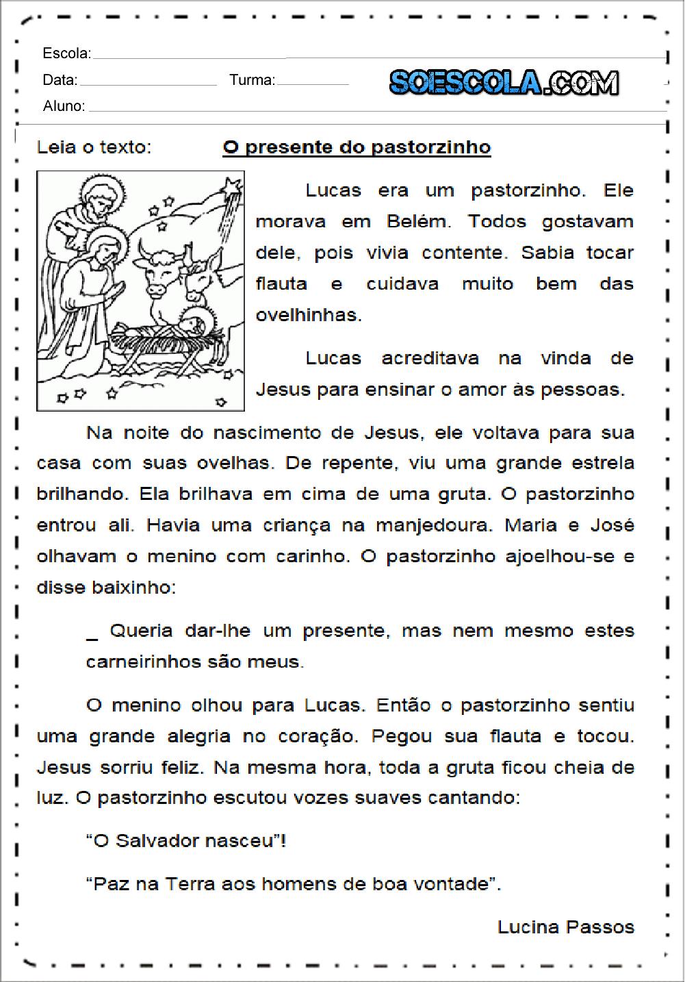 Texto O presente do pastorzinho para imprimir - Series Iniciais