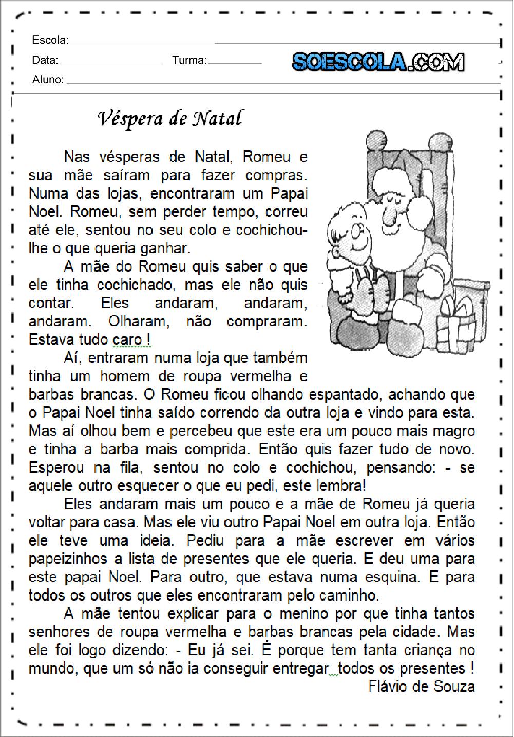 Texto Véspera de Natal para imprimir e baixar em PDF - Textos Curtos