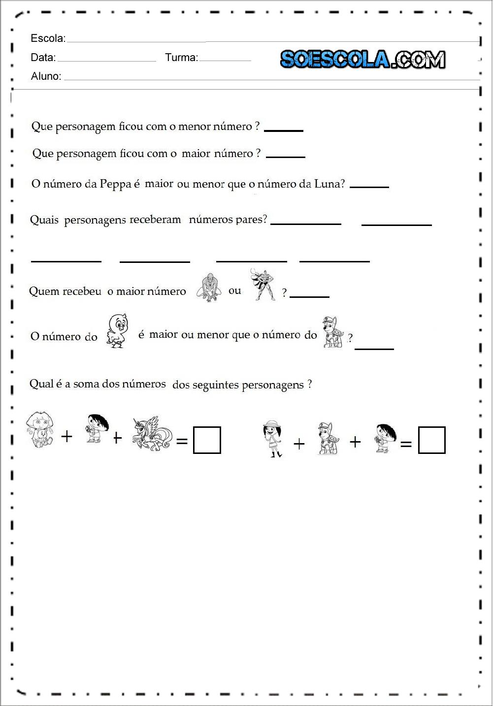 2 Atividades de Matemática para imprimir
