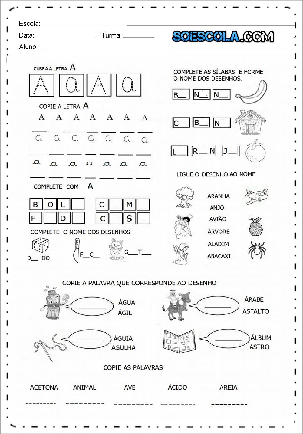 5 Atividades com Vogais - Atividades Educativas para imprimir