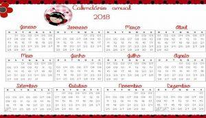 Calendário 2018 Joaninhas