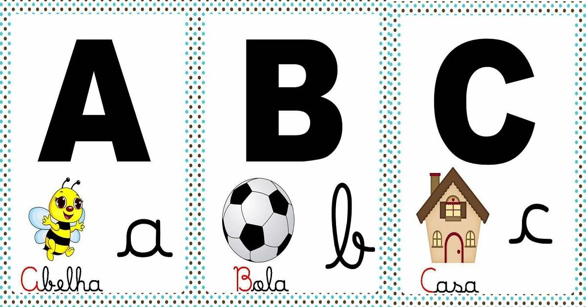 Alfabeto Com Letra Cursiva E Bastao Para Imprimir Fichas Ilustradas