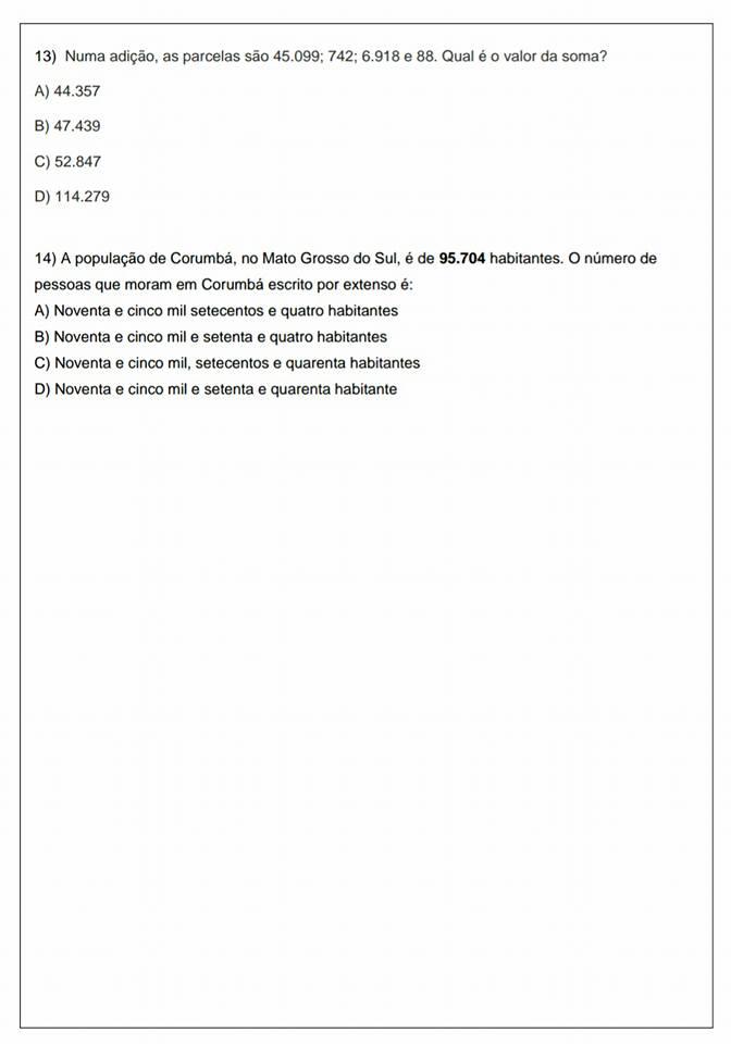 Avaliação Diagnóstica de Matemática 5 ano - Para imprimir e Baixar