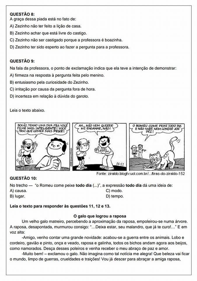 Avaliação Diagnóstica de Português 5 ano para imprimir e baixar em PDF