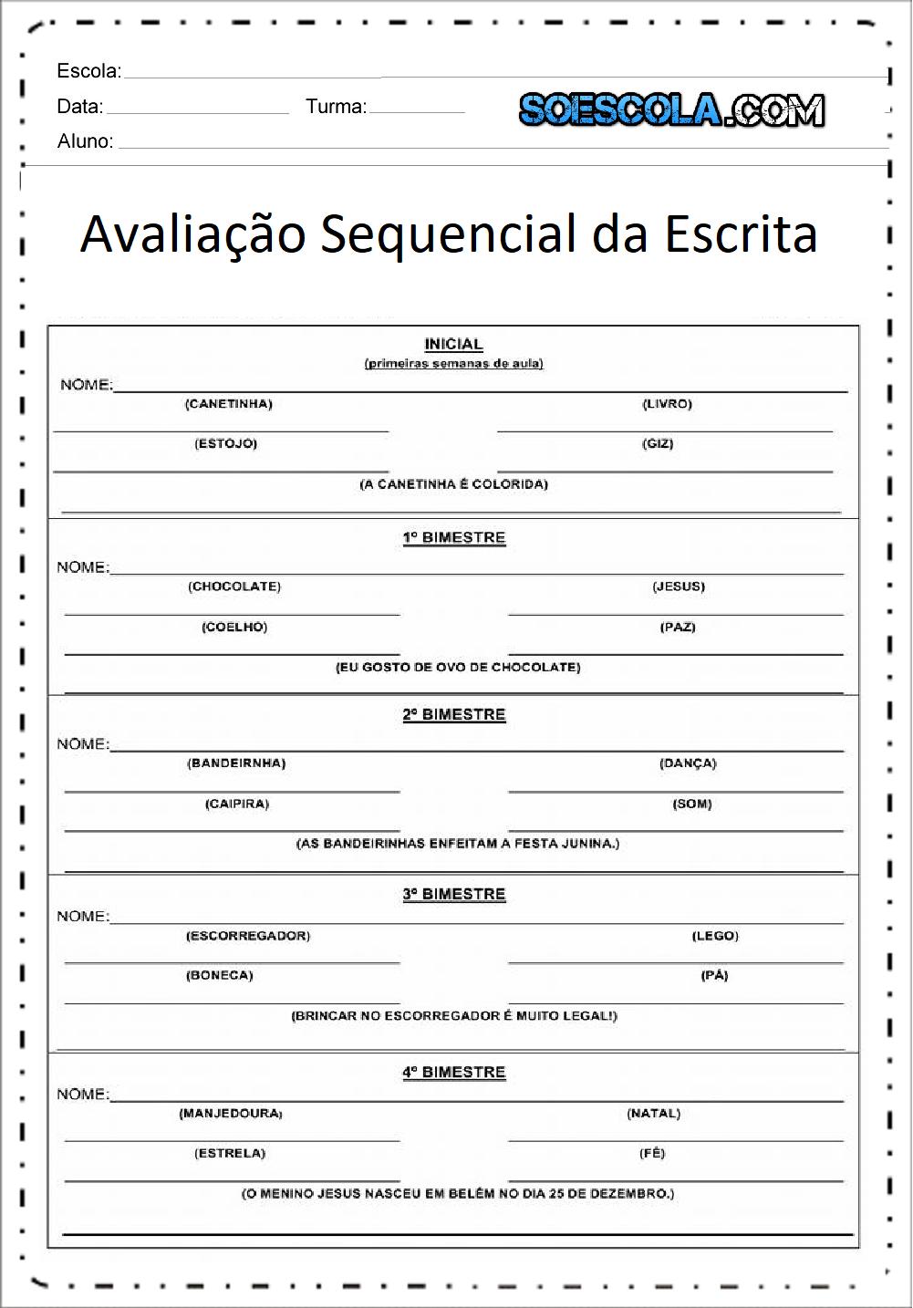Avaliação Sequencial da Escrita - Para imprimir