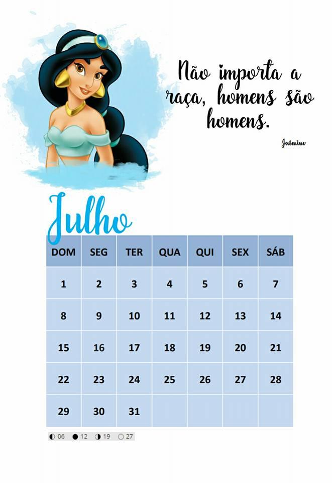 Calendário 2018 com personagens da Disney