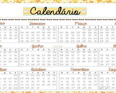 Calendário do professor 2018 - Para imprimir e Baixar em PDF