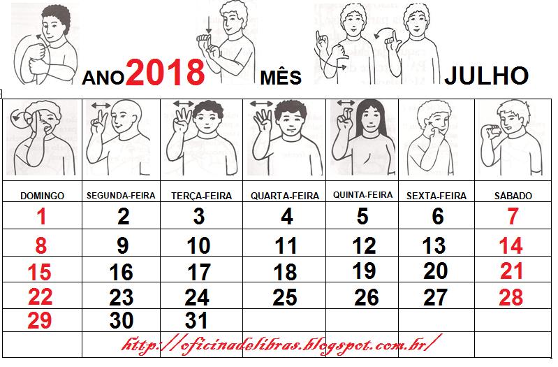 Calendário em Libras 2018 - Para imprimir
