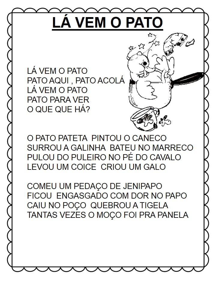 Cantigas De Roda Para Leitura La Vem O Pato So Escola