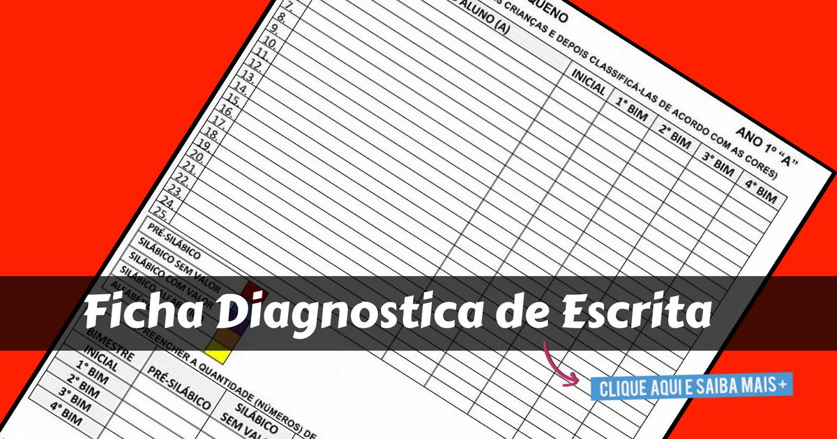Ficha Diagnostica de Escrita para imprimir e baixar