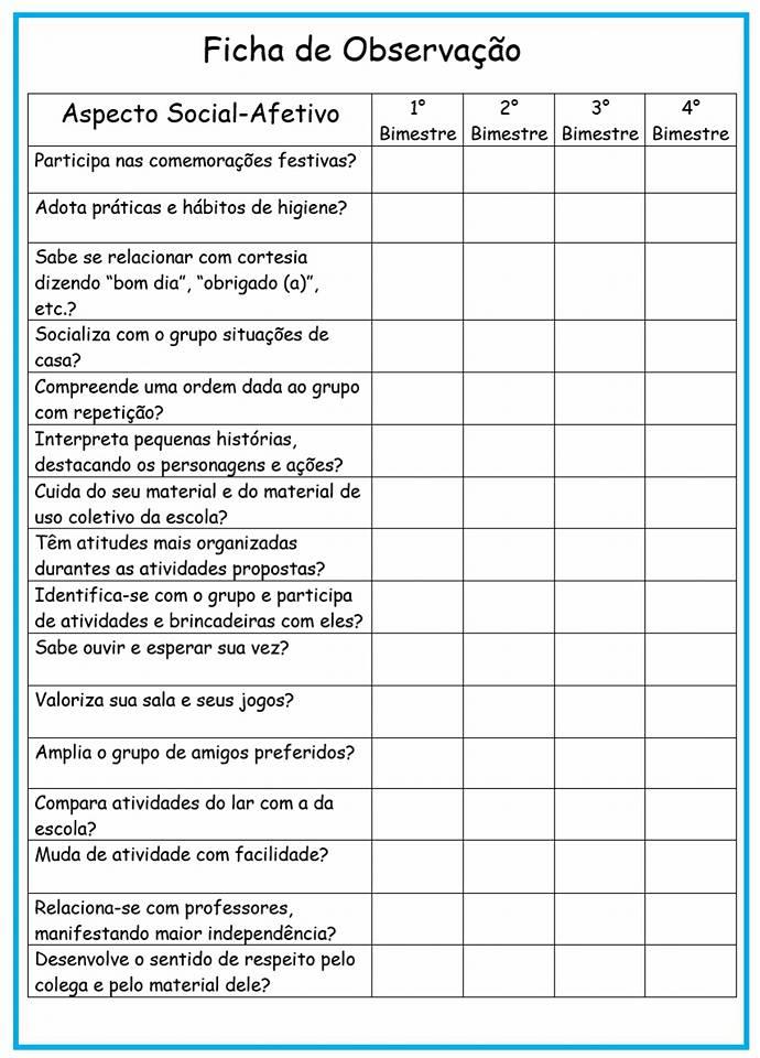 Fichas Avaliativas para imprimir