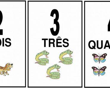 Fichas de Números e Quantidades ilustrada para imprimir
