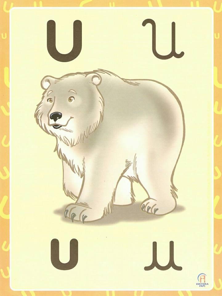 Fichas de Vogais ilustradas com letras cursivas e bastão para imprimir