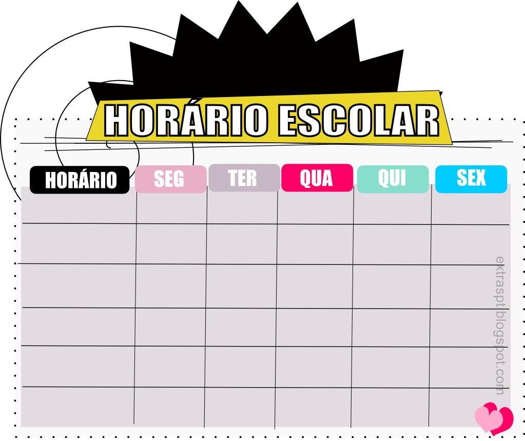 Horário Escolar para imprimir - Modelos de Horários