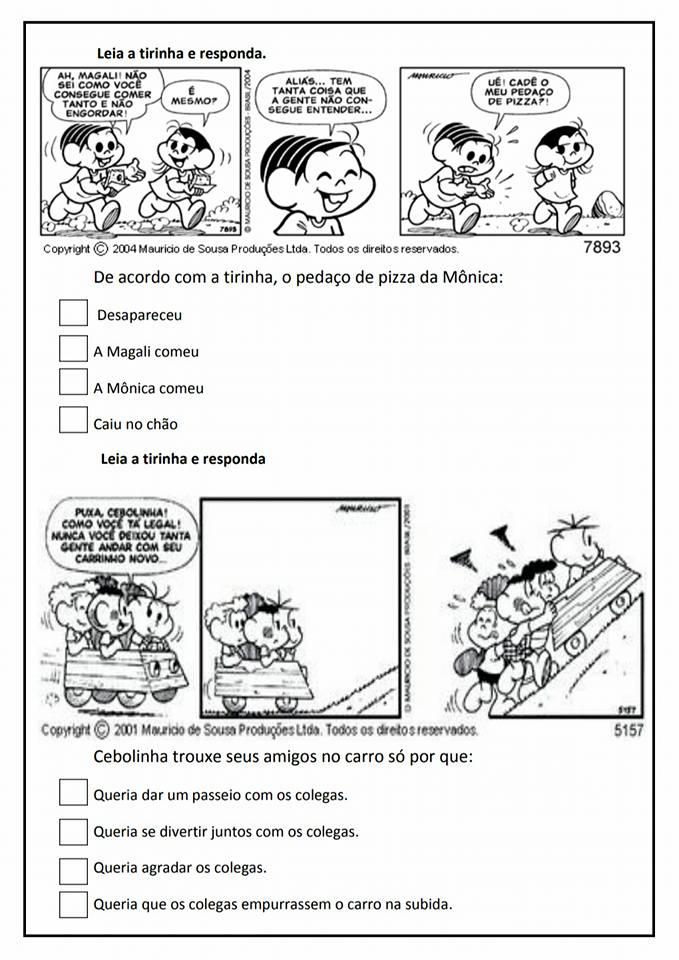 Leitura e Interpretação de Tirinhas - Atividades para imprimir