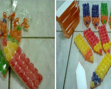 Lembrancinha Volta às Aulas - Lápis com doces