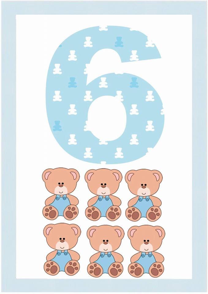 Números com tema Ursinho - Cards Ilustrados de Números para imprimir