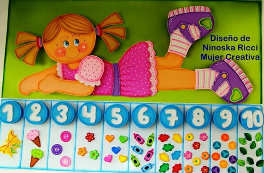 Painel de Números com moldes para imprimir - Numerais de 1 a 10