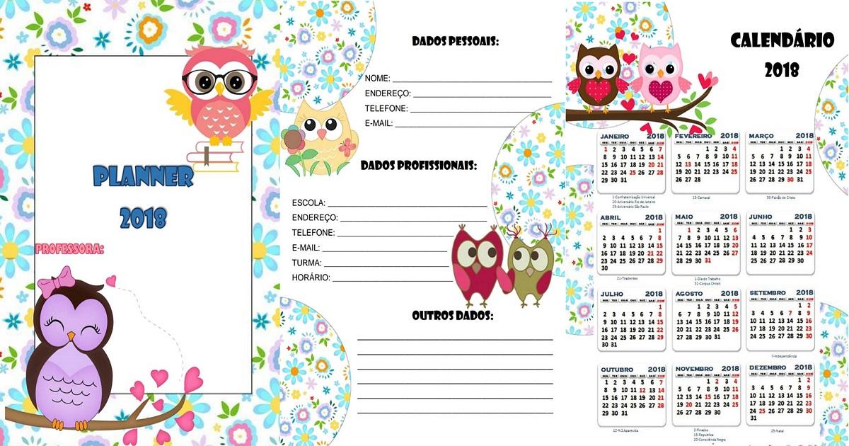 Planner 2018 com o tema Corujinha – Planejamento para professores