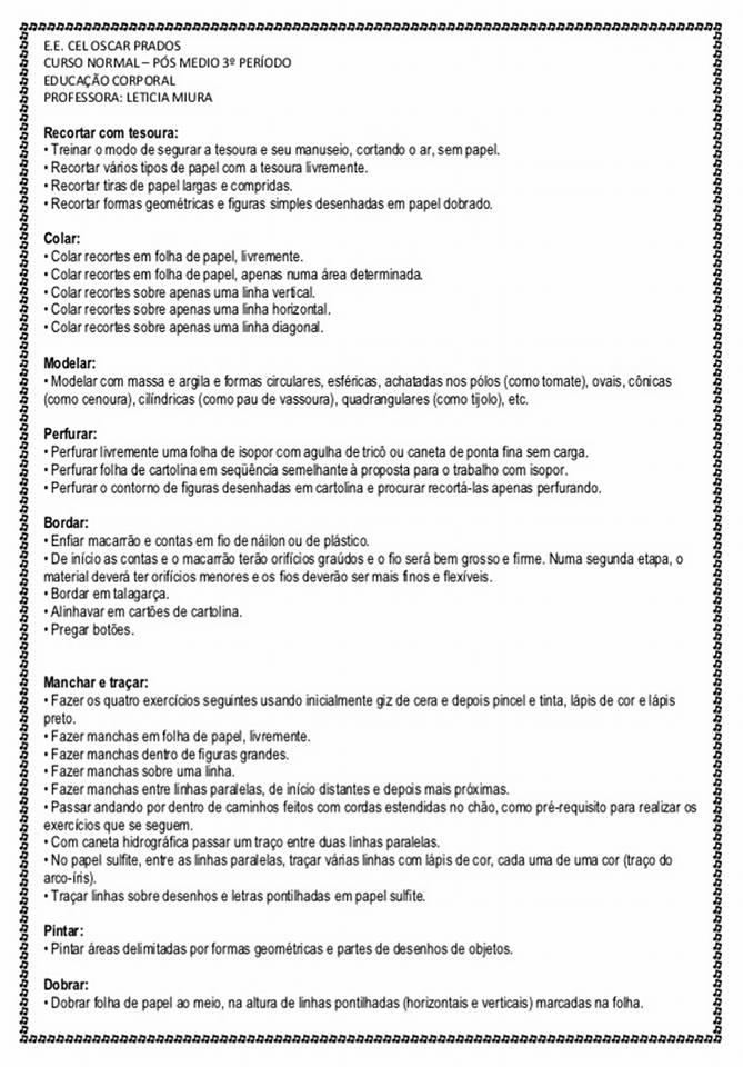 Sugestões de Atividades Psicomotoras - Psicomotricidade Infantil