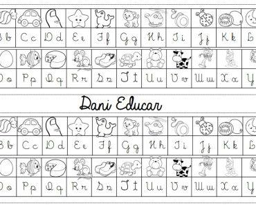 Tabela alfabeto com letra cursiva