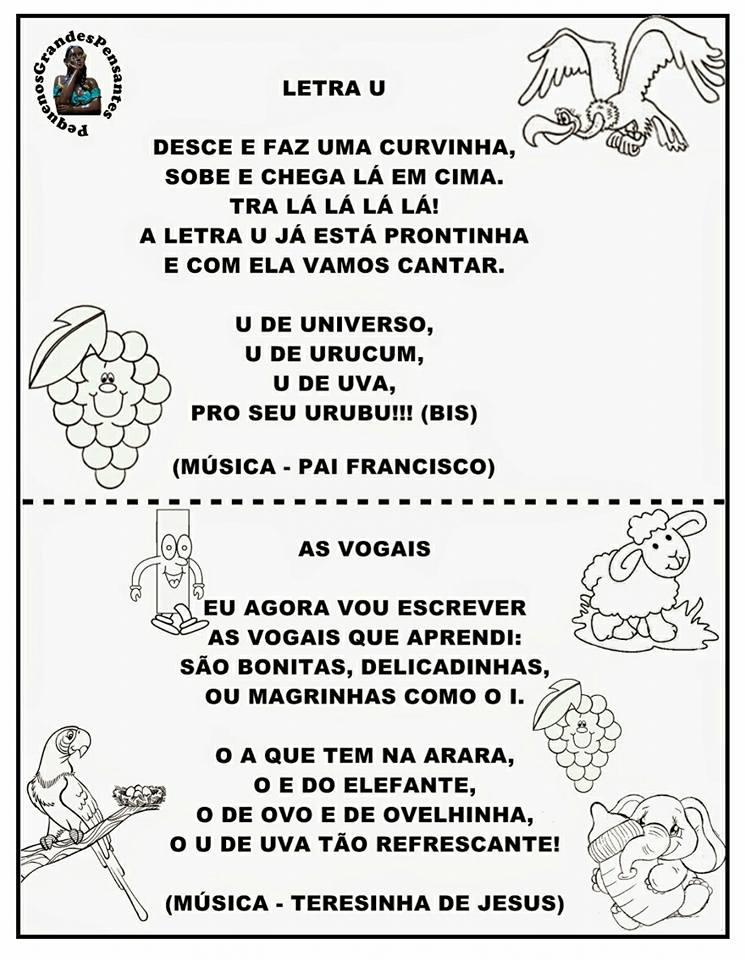 Atividades com Vogais cantadas para imprimir - Músicas das Vogais