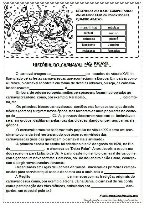 Atividades de Carnaval para imprimir