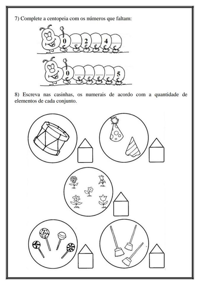 Atividades de Matemática trabalhando o número 5 - Para imprimir
