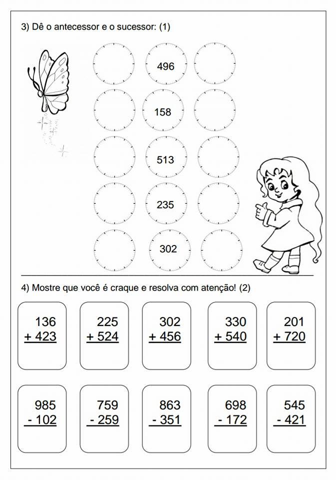Avaliação de matemática para 3 ano para 1º Bimestre