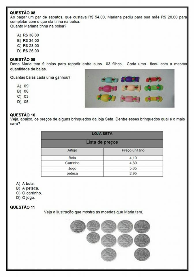 Avaliação Diagnóstica Matemática para o 4 ano para imprimir