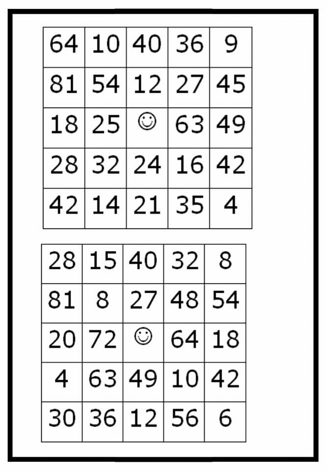 Bingo da Tabuada