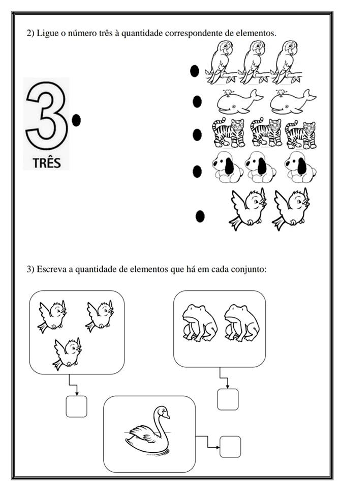 Conhecendo o número 3 – Atividades de Matemática