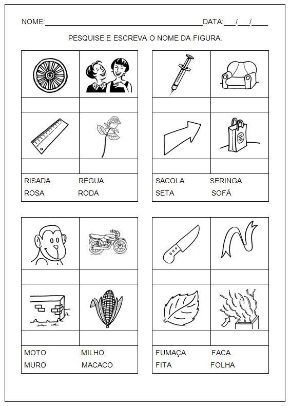 Hipótese silábica com sugestões de Atividades para imprimir