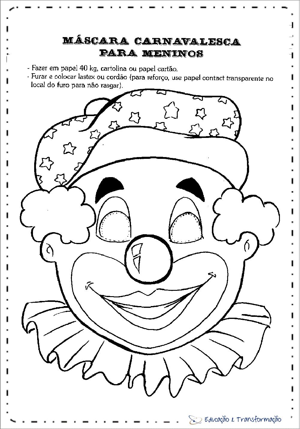 Máscaras de Carnaval para imprimir e colorir