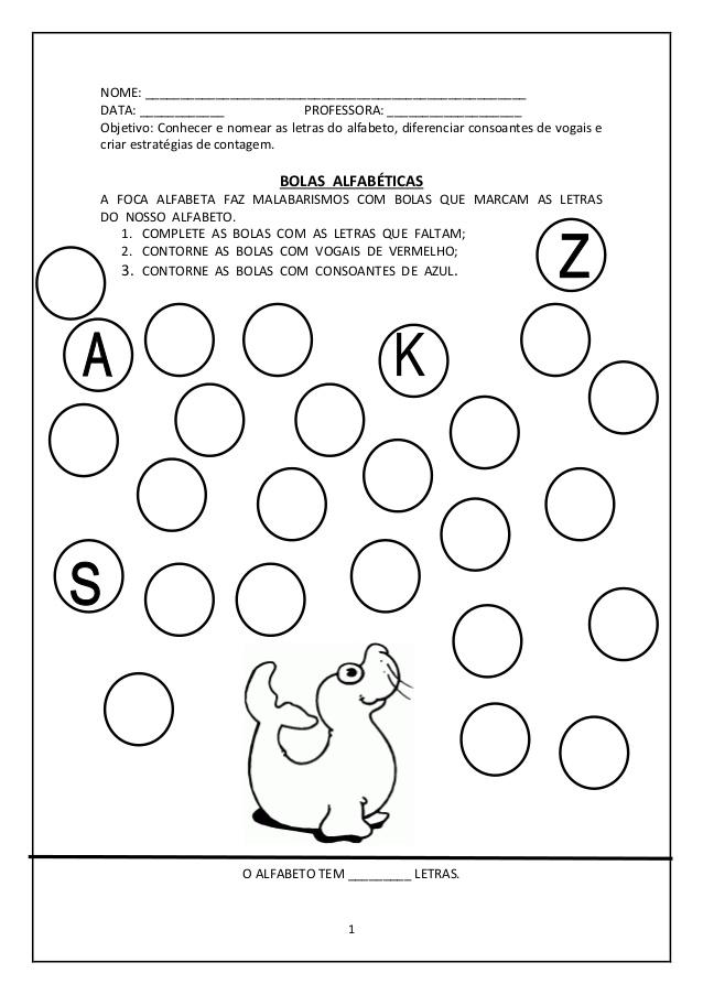 Apostila com Atividades para Alfabetização