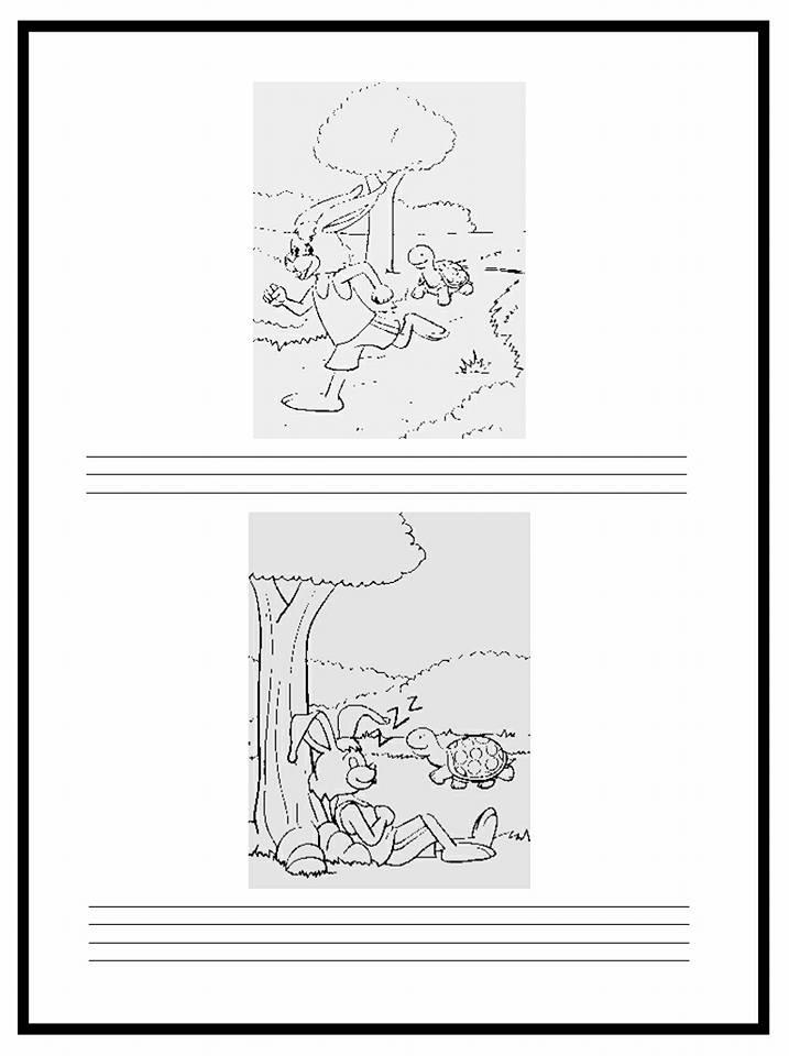 Atividades com a fábula A lebre e a tartaruga para imprimir