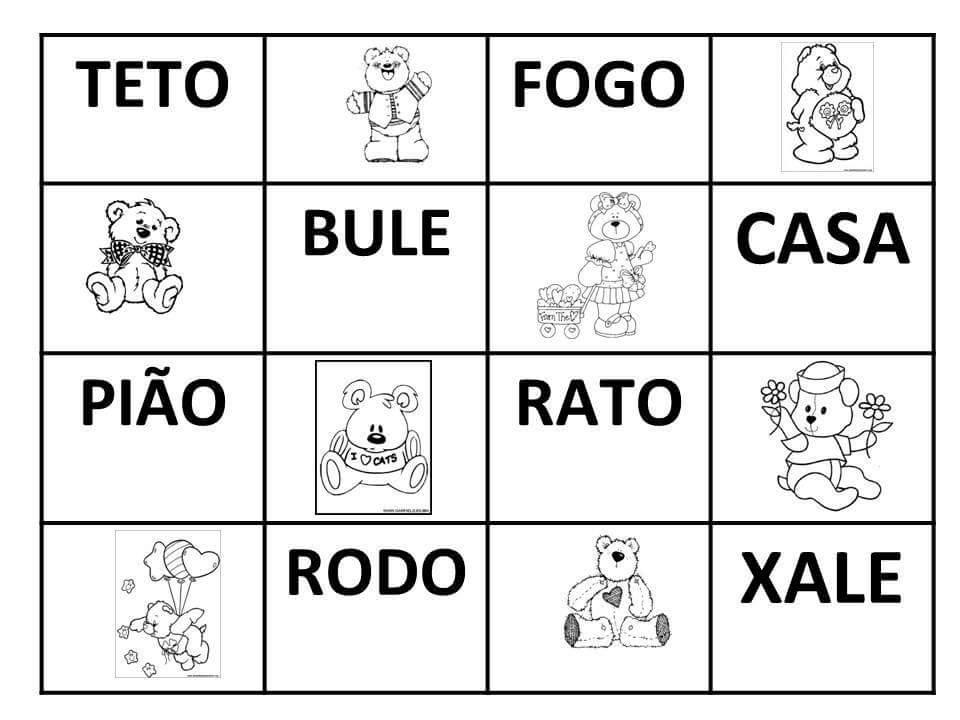 Bingo de Palavras - Cartelas para imprimir