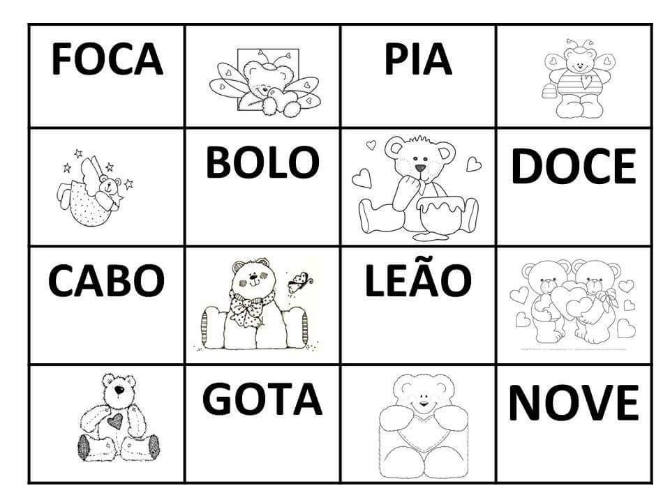 Bingo De Palavras Simples Com Fichas E Cartelas Para Imprimir