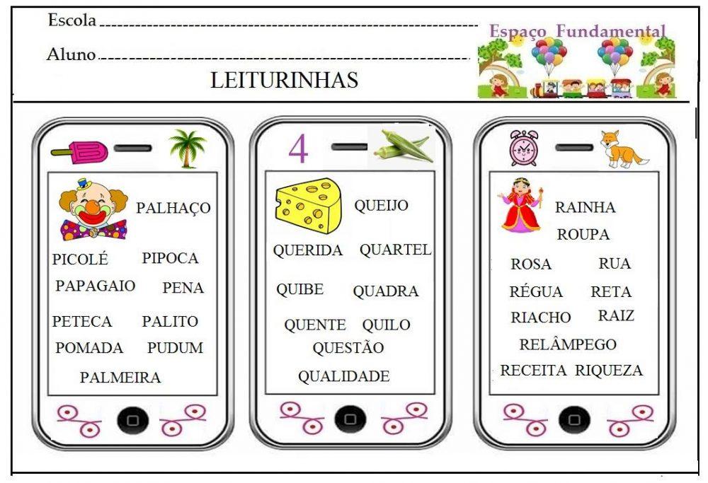 Fichas de Leitura com as letras de M a R